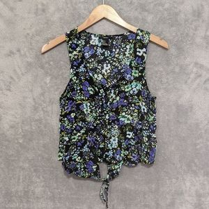 🌻5/15$ Forever 21 green blue floral tank